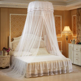 lace canopy mosquito net 2019 - High Quality Luxury Romantic Hung Dome Mosquito Net Princess Students Bed Canopy Lace Round Mosquito Nets Curtain for Be