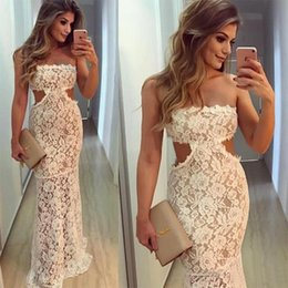 Barato Cintura Natural Sem Alças-Strapless Lace Mermaid Prom Vestido Waist Cut 2017 Ocasião especial Ivory Women Evening Gowns For Party Vestidos formados árabes Evening Wear