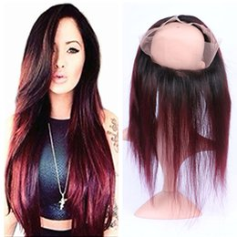 Roots Band Canada - Dark Root Ombre Color Burgundy 360 Lace Band Frontal 22.5x4x2Inch T1B 99J Straight 360 Full Lace Band Frontal Closure With Baby Hair