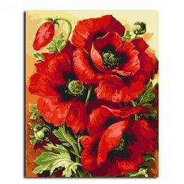 $enCountryForm.capitalKeyWord NZ - Framed Red Flower painting Modern Handpainted & HD Art Printed on High Quality Canvas Home Wall Decor Multiple Size