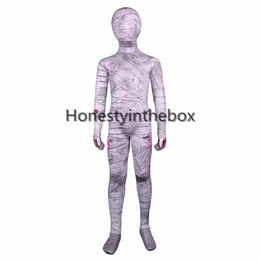 Costume Spandex Gris Pas Cher-Hot Sale 2017 Grey Mummy Lycra Spandex Plein Body Zentai Suit Child Mummy Bodysuit Pour Halloween