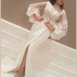 HigH fasHion gown designer online shopping - Yousef Designer High Slits Evening Dresses Mermaid High Neck Long Sleeves Lace Body Pleated Skirt Formal Gowns