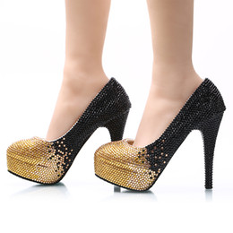 Chaussures De Demoiselle D'honneur Noir Strass Pas Cher-Noir Or Ombre Cristal perlé Cendrillon Chaussures fait à la main Prom Evening High Heels Perles Strass Bridal Bridal Wedding Shoes 024