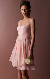 knee low bridesmaid dresses UK - Simple Design A Line Sweetheart Knee Length Pearl Pink Short Bridesmaid Dresses Ruched Most Popular Chiffon Low Price Wedding Party Dresses