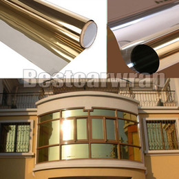 Self adheSive mirrorS online shopping - One Way Gold Mirror Finish Vinyl Window Tint Wrap Film For home building glass Self Adhesive DIY x30m x98ft