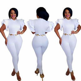 High Quality Jumpsuits Australia - Wholesale- J7438K 2017 High quality slim temperate fashion bodycon jumpsuit short sleeve summer jumpsuit solid white full length jumpsuit