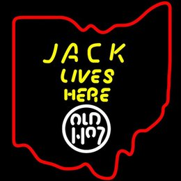 China Fashion New Handcraft Jack Lives Here Ohio States Map Real Glass Beer Bar Display neon sign 19x15!!!Best Offer! suppliers