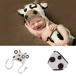 Costumes De Croche De Photographie Pas Cher-Nouvelle arrivée Crazy vache Design Infant Baby Unisexe Crochet Animal Costume Photo Props Tricot Boy Girls Animal Outfits Photography Props