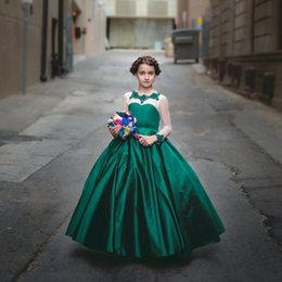 Barato Verde Escuro Para Miúdos-Custom Made Dark Green Satin Flower Girl Vestidos Sheer Long Sleeves Kids First Communication Vestido Andar Length Toddler Pageant Vestido