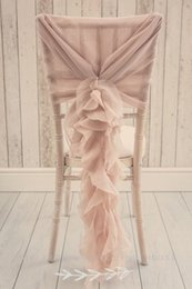Cover Chairs Wholesale Canada - Custom Made 2017 Blush Pink Ruffles Chair Covers Vintage Romantic Chair Sashes Beautiful Fashion Wedding Decorations 02