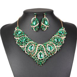 Indian wedding decoration accessories dhgate uk luxury bridal jewelry sets wedding necklace earring for brides party accessories gold plated drop flowers decoration gift women junglespirit Image collections