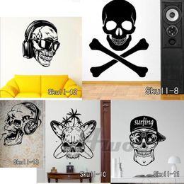 Cartoon Stick Wall NZ - Earphone Skull Wall Stickers Vinyl Cute Skull Wall Sticker Cartoon Tree Flowers Music Skull Decals Home Decor Free Shipping