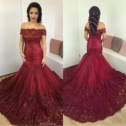Discount black beaded floor length gowns - Gorgeous Burgundy Mermaid Evening Dresses 2017 Arabic African Lace Prom Dress Sequined Appliques Corset Back Court Train