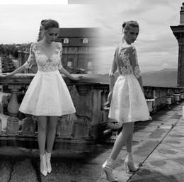 $enCountryForm.capitalKeyWord Canada - Designer Illusion Bodice Short Wedding Dresses Sheer Top Lace Berta Bridal Cheap Country Beach Lace Wedding Dresses Sleeves Covered Flora