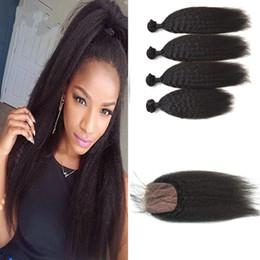tangle free hair extensions 2018 - Malaysian Kinky Straight Hair Bundles With Closure No Shedding No Tangle 100% Human Hair Extensions With Closure G-EASY