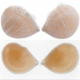 Wholesale 2018 Cheap High Quality Lace Strapless Backless Push up Invisible Bra Self Adhesive Silicone Breast Nubra Bridal Undergarment