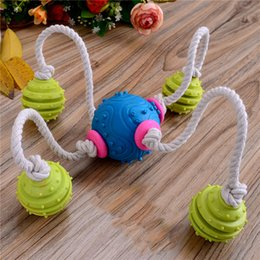 Very Durable Canada - Very Funny five ball shape pet toy interactive cotton rope knot TPR durable dog pets toy