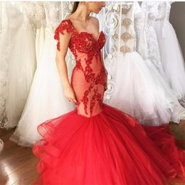 Robe De Bal Rouge Sequin Sweetheart Pas Cher-Robe De Soiree 2017 Sexy Sweetheart Sequins Dentelle Tulle Red Mermaid Robes de soirée Bride Banquet Gowns Women's Prom Dress Party