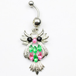 Owl belly buttOn online shopping - D0096 color clear color Nice belly ring nice owl style belly ring with piercing body jewlery navel belly ring body jewelry