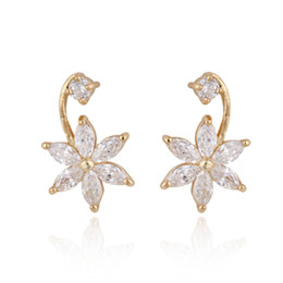 $enCountryForm.capitalKeyWord NZ - Clear Cubic Zirconia CZ Flowers 18K Yellow Gold Plated Stud Earrings Fashion Jewelry for Women