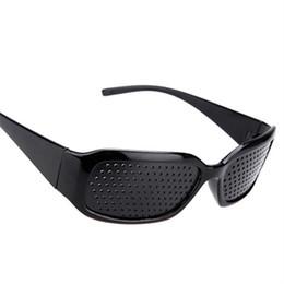Discount eye exercises improve vision - Wholesale-Black Pinhole Sunglasses Anti-fatigue Vision Care Pin Hole Microporous Glasses Eye Exercise Eyesight Improve A