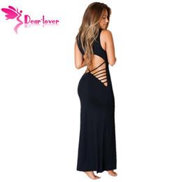 553a149c6e6 Женская 2015 эластичная черная полая спина макси-джерси ну вечеринку  клубная одежда платье халат длинные повседневные пляжная одежда майка  LC60455 17410