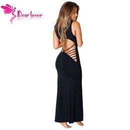 Womens 2015 Stretchy Negro Ahuecado Volver Maxi Jersey Party Clubwear Vestido largo Vestidos Casual Beachwear Tank Top LC60455 17410 en venta