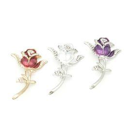 $enCountryForm.capitalKeyWord UK - Hot Rhinestone Rose Flower Enamel Brooch Corsage Scarf Clip Lapel Pin Broches Jewelry Women Sweater Hats Buckles Lot 12 Pcs