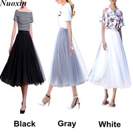 Taille Jupe Noire Pas Cher-New 2017 Summer Tulle Tutu Jupes Womens Black White Grey Mid-Calf Ball Gown Wedding Party Girls Femmes Pleated Layered Skirt One Size