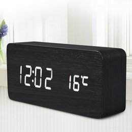 Wooden Digital LED Alarm Clock Time Despertador Sound Control USB AAA Temperature Display Electronic Decor Desktop Table Clock