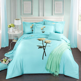 $enCountryForm.capitalKeyWord Canada - 40*40 144*76 reactive print bed sheet bed linen four pieces bedding set 100% cotton fabric,thigher thread count blue color happy rose design