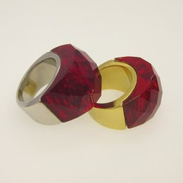 Glasses Trade Canada - Foreign trade selling authentic stainless steel glass half a pack of large stone ring female models and titanium rings
