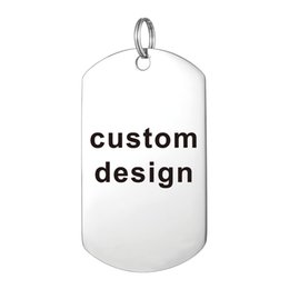 online shopping Custom Laser Engraved Stainless Steel Stamped Large Dog Tag Military Necklaces Pendant Personalized Style Fashion Jewellery