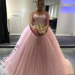 Barato Cintas De Vestido Rosa Claro-2017 Custom Light Pink Vestidos de noiva Lace Tulle Ball Gown Moda Beading Straps Sweetheart Corset Long Plus Size Puffy Party Bridal Gowns