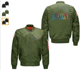 $enCountryForm.capitalKeyWord Australia - Wholesale new style USA size GRIZZLY letter style men's flight jacket line code Air Force pilots men's spring wind breaker jacket