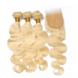 Chinese  #613 brazilian Blonde Virgin Hair Weaves With Lace Closure 4*4 Free Part Top Closure With Bundles Platinum Blonde Body Wave Human Hair Weave manufacturers