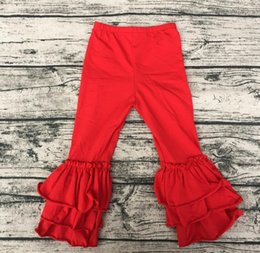Barato Calças De Fundo Grandes-Fall Sew Sassy Icing Legging Comprimento completo Triplo Big Ruffles Bottom Factory Direct Wholesale Meninas Red Ruffle Pants