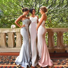 Robes De Demoiselle D'honneur En Perles Sans Bretelles Pas Cher-Charming Lace Mermaid Country Robes de demoiselles d'honneur Strapless Neckline Appliques Mariage Robe d'invité Beaded Cheap Maid Of Honor Gowns