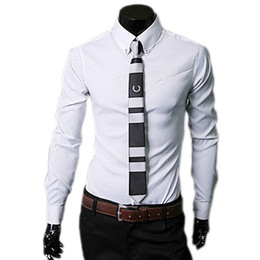 Mens Shirts Lapels Canada - Wholesale- Shirt Tops Mens Luxury Business Stylish Slim Fit Long Sleeve Lapel Neck Button Down Formal Classical Casual Obscure Dress