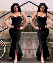 China 2018 Black Mermaid High Low Dresses Evening Wear Sweetheart Spaghetti Straps Long Prom Pageant Gowns Women Formal Wear cheap mermaid sweetheart spaghetti strap low back suppliers