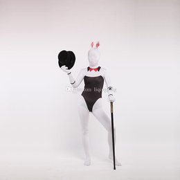 Chat Blanc Zentai Pas Cher-Brand New Black and White Lycra Zentai Bodysuit Spandex Costume de cosplay pour lapin pour Halloween