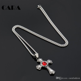 Gothic Necklace Cross Canada - CARA New arrival good quality stainless steel vintage cross pendant necklace men's and women gothic jewelry hip hop necklace gift CAGF0