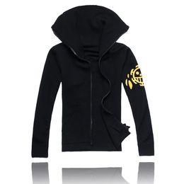 Anime one piece coAt online shopping - One Piece Trafalgar Law cos cloth set Trafalgar D Water Law cosplay hoodies second generation top coat