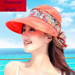 Anti Uv Sun Visor Canada - Summer Style Women Foldable Wide Large Brim Floppy Beach Gorro Hats Chapeu Outdoors Visors Cap Sun Collapsible Anti-Uv Hat