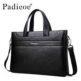 Handbags Business NZ - Wholesale- New fashion men's business shoulder bag famous designer handbags genuine leather briefcase high quality messenger bags for male