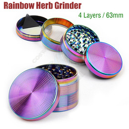 rainbow alloys NZ - Top Quality Rainbow Grinders 4 Layers Beautiful 63mm herb Grinder Zinc Alloy Tobacco herbal Spice Crusher vapor Machine Magnet Strainer DHL