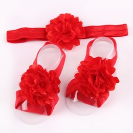 infant feet accessories UK - Wholesale- 3Pcs Set Baby Girls Kids Toddler Infant Foot Headband Hair Flower Accessories W039