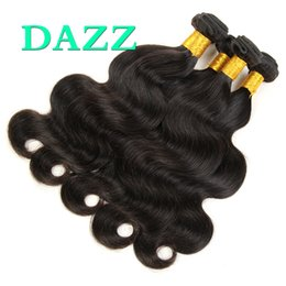DAZZ venta al por mayor virgen de la Virgen del pelo indio paquetes de onda del cuerpo mojado y ondulado armadura del pelo humano paquetes sin procesar remy extensiones de cabello de la onda del cuerpo en venta