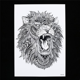 Discount art lion king - Wholesale- 1 Sheet Waterproof Large Temporary Tattoo Sticker HB496 Women Men Body Arm Leg Art Water Transfer King of For