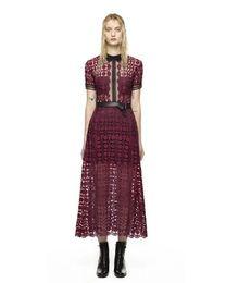 40b4a3cdd54 Оптовая высокого класса пользовательские автопортрет фиолетовый красный  кружева лоскутное женщины длинное платье 2015 мода взлетно-посадочной полосы  стиль ...